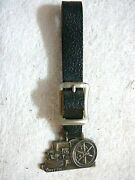 Antique Witte Engine Works Fob Of Month 54 Watch Fob Original, Nice Leather