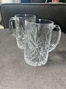 Set Of 2 Brillant Cut Hand Crafted Lead Crystal 450ml Beer Mugs 5.75 Inch Tall