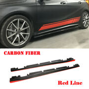 2x Side Skirts Body Kit For Benz Cla45 Cla250 A200 A250 A45 13-18 Carbon Fiber