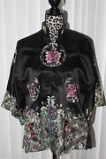 Vintage Antique Chinese Hand Embroidered Womenand039s Robe 100 Silk Sz L