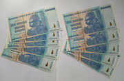 Lot Of 5 Zimbabwe 100 Trillion Dollars 2008 All Sequential Consecutive Serial