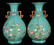 11.2qianlong Marked Old China Green Color Porcelain Lotus Leaf Bottle Vase Pair