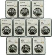 Lot Of 10 - 1987 American Silver Eagle 1 Ngc Ms69