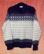 Vintage Hutzler's Men's Store Md Northern Isles Knit Blue Red Ivory Sweater Sz M