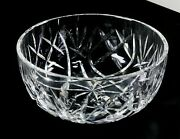 Waterford Crystal, 8 Inch Bowl, Intricate Criss Cross And Fan Patterns