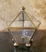Vintage Brass And Glass Pentagon Trinket Display Case - Hinged And Footed