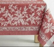 New Williams Sonoma Holly Jaquard Holiday Winter Tablecloth 70x126