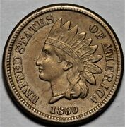 1860 Indian Head Cent - Nice Detail  Us 1c Penny Coin  Lot 213