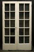 48x79x1.75 Pair Antique Vintage Wooden French Double Doors Window Wavy Glass