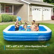 Inflatable Swimming Pool, Hesung 118 X 69 X 21 Full-sized Family Kiddie Blow