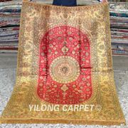 Yilong 4'x6' Floral Handwoven Silk Carpet Gold Dining Room Area Rugs Mc343b