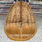 Yilong 4and039x6and039 Oval Handwoven Silk Carpet Gold Medallion Area Rugs Mc344b