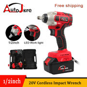 20v Cordless Electric Impact Wrench Gun 1/2and039and039 Driver Li-ion Battery High Power
