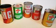 5 Different Vintage Co Op Oil And Transmission Tin Cans - Canadian - Empty