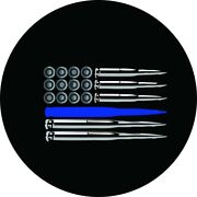 American Flag Ammo Police Thin Blue Line Tire Cover - Optional Camera Port