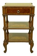 32695ec Maitland Smith 1 Drawer Inlaid Mahogany Tiered Nightstand Table