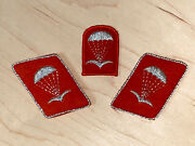 Ddr/ East German Paratrooper Officer Collar Tabs And Beret Flash Silver