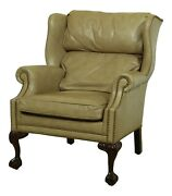 32709ec Hancock And Moore Tan Leather Ball And Claw Wing Back Easy Chair