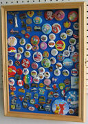 Lapel Pin Button Medal Display Case Wall Cabinet Shadow Box Lockable