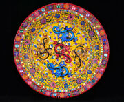 18 Chenghua Marked China Colour Enamel Porcelain Inlay Gem 5 Dragon Plate Tray