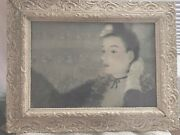Antique Ornate Wood Chippy Gesso Frame W Paris French Woman Print Shabby Chic