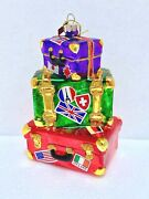 Radko Sparkle Bright For Nordstrom Glass Blown Christmas Ornament 5.5 Suitcase