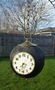 Vintage Hanging Swag Chain Wooden Clock 8-ball Hand Made Game Room Man Cave