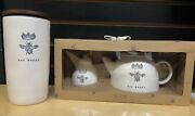 Rae Dunn Bee Happy Teapot And Honey Pot Set With Canister Htf New Ll
