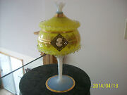 Cameo Venetian Antique Gilded Gold Opalescent Murano Spiraling Glass Compote