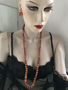 Antique Long Coral Necklace With Matching Coral Earrings Rare Andpound2899.00 Stunning