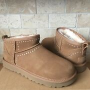 Ugg Classic Ultra Mini Chestnut Bling Suede Sheepskin Ankle Boots Size 7 Women