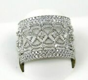 Natural Round Diamond Criss Cross Weave Cluster Ring Band 18k White Gold 1.02ct