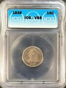 1836 Capped Bust Dime Silver 10c Circulated Very Good Icg Vg8