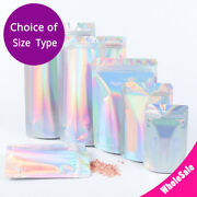 Multi-size Glossy Holographic Silver Foil Mylar Stand Up Zip Lock Pouch Bag S01