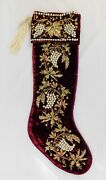 Sudha Pennathur Embroidered Jeweled Clusters On Velvet Christmas Stocking W/tags
