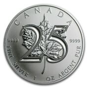 5 X 2013 Canadian Maple Leaf 25th Anniversary Limited Edition 1 Oz Silver Coin