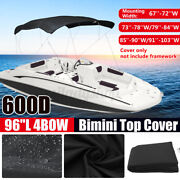 4 Bow Bimini Top Boat Replace Canvas Cover 67and039and039-103and039and039w 6ft Long No Frame Black