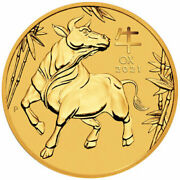 1/10 Oz Gold Coin - 2021 Year Of The Ox - Perth Mint - Australian 15 Coin