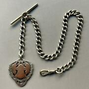 Sterling Silver Albert Chain For Pocket Watches Around 1900 Antique Uk Marin