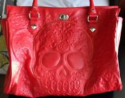Loungefly Red Embossed Sugar Skull Tote Bag Purse