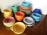 45 Vintage Fiesta 9 1/2 Genuine Plates Saucers Bowls Mixed Colors