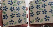 Pair Antique Hand Painted Terra Cotta Salvaged Tile Blue Floral Glazed Pottery