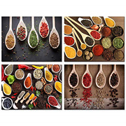 Biuteawal- 4 Piece Wall Art Sets Spice And Spoon Vintage Canvas Wall Art Kitchen