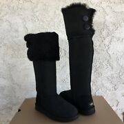Ugg Bailey Button Over The Knee Black Suede Sheepskin Tall Boots Size Us 8 Women