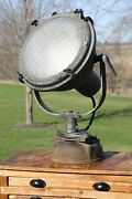 Antique Wwii Military Ship Light Nautical Industrial Boat Spotlight Pyrex Globe