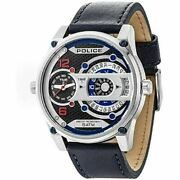 Police Dual Time Big Face Men's Watch Stainless Steel Leather Band R1451279001
