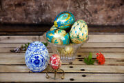 Mixed Lot Paper-mache Porcelain Hand Painted Decorative Eggs - Spring Easter