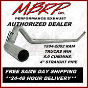 Mbrp 4 Straight-piped Exhaust For 1994-2002 Dodge Ram W/ 5.9 Cummins Diesel