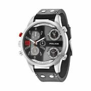 Police 3 Time-zone Big Face Men's Watch Stainless Steel Leather Band R1451240001