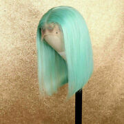 Luxury Lace Front Lace Front Mint Green Bob Human Hair Wig Blunt Cut Full Lace